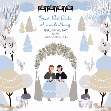 Vector card with illustration of wedding ceremony in the winter garden with lesbians couple and arch. Save the date. Background with a place for your text. Template easily editable.