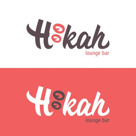 The logo of Hookah bar on white and red backgrounds. Vector hand drawn calligraphy perfect for lounge, cafe, restaurant.