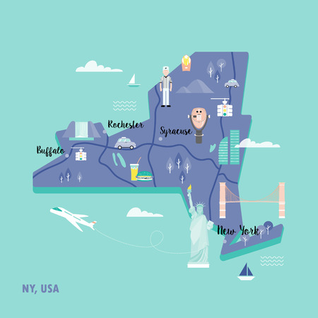 Colorful map of New York in retro style with landmarks: the Statue of Liberty, Brooklyn bridge, yellow lights, telescope of Top the Rock. Illustration in flat style perfects for flyer, poster, card.