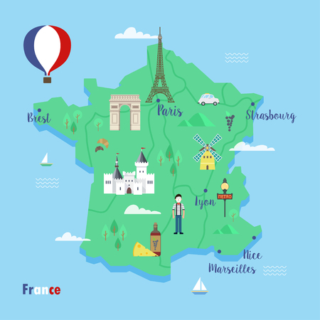 France. Colorful travel maps with popular landmarks: the Eiffel tower, the metro, the arc de Triomphe. Vector concept in flat style. Çizim