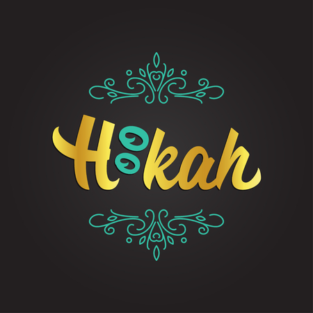 Vector logotype for Hookah bar or lounge. Hand drawn calligraphy with eastern swirls on black background. Vectores