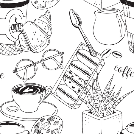 Vector pattern with coffee cup, muffin, croissants, cream, glasses, spoon, milk and flower. Hand drawn illustration perfectly for print, packing and textiles design. Vectores