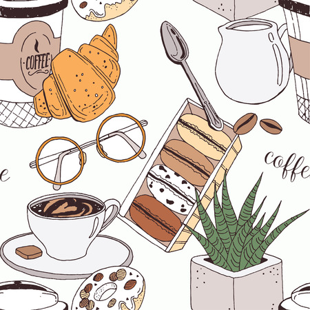 Hand drawn pattern with coffee cup, muffin, croissants, cream, glasses, spoon, milk and flower. Vector funny illustration perfectly for print, packing and textiles design. Vectores