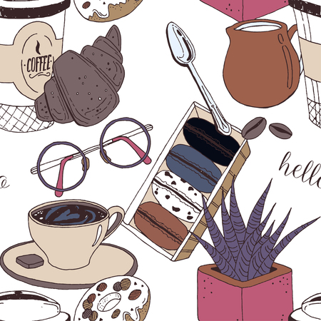 Funny pattern with coffee cup, muffin, croissants, cream, glasses, spoon, milk and flower. Vector illustration perfectly for print, packing and textiles design.