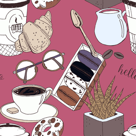Pink luxury pattern with coffee cup, muffin, croissants, cream, glasses, spoon, milk and flower. Vector illustration perfectly for print, packing and textiles design.