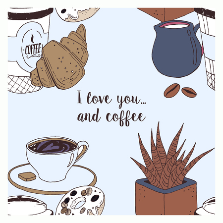 Vector template of love card with coffee cup, muffin, croissants, cream, glasses, spoon, milk and flower. Colorful concept with place for your text easily editable.