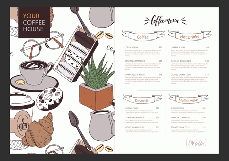 Vector template of coffee menu with funny pattern on background. Coffee cup, muffin, croissants, cream, glasses, spoon, milk and flower. Colorful concept with place for your text easily editable. Çizim
