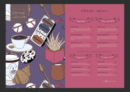 Vector template of menu for coffee house. Pink funny pattern on background with coffee cup, muffin, croissants, cream, glasses, spoon, milk, flower. Concept with place for your text easily editable. Çizim