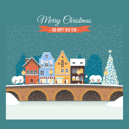 Vector Christmas card with snowy street, house, people. Illustration on the background of night sky and snowfall. Holiday rush, shopping for gifts. Perfectly for greeting card, invitation or banners.