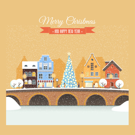 Christmas card with a snowy street on the eve of the New Year. Vector illustration on the background of snowfall. Holiday rush, shopping for gifts. Perfectly for greeting card, invitation or banners. Illustration