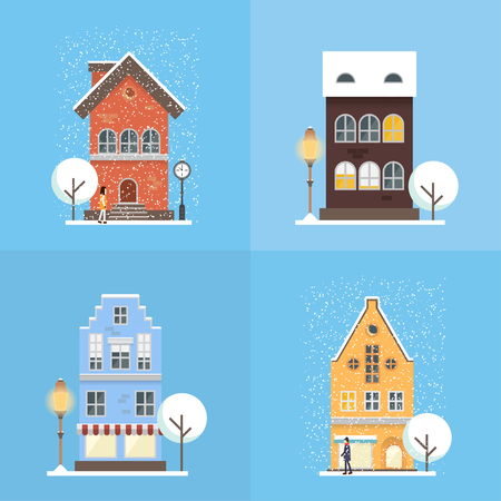 Urban landscape concept in modern flat style. Vector illustration with cityscape elements: house, shops, trees, street lamp and people. Perfect template for web or any designs.