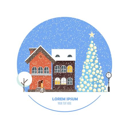 Christmas street. Landscape concept in modern flat style with place for your text. Vector illustration with cityscape elements and Christmas tree. Perfect template for card, web or any designs.