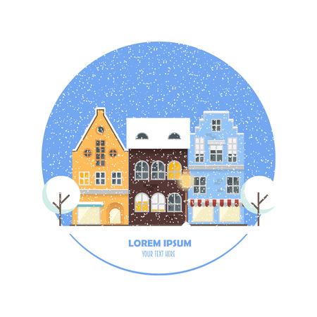 Urban landscape concept in modern flat style with place for your text. Vector illustration with cityscape elements: house, shops, trees, street lamp. Perfect template for card, web or any designs.