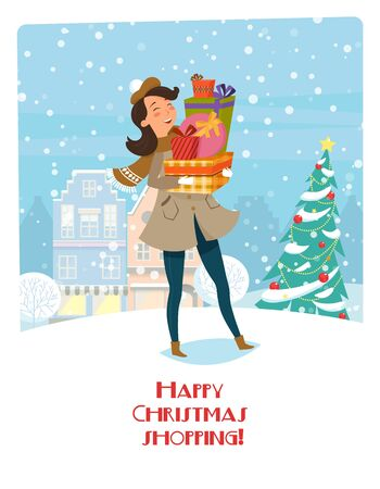 Happy Christmas shopping. Vector illustration with women and gifts. Bright banner on the background of the Christmas city and Christmas tree. Preparing for the holiday, new years vanity.