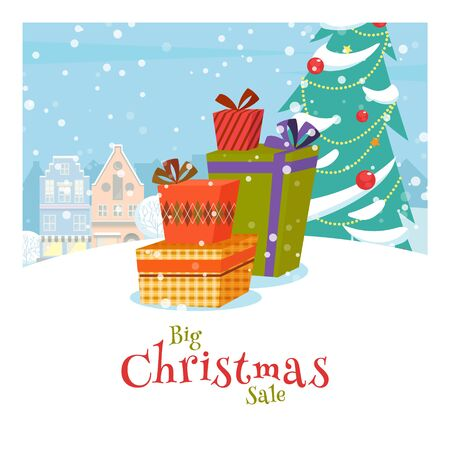 Happy Christmas shopping.  Bright banner on the background of the Christmas city and Christmas tree. Preparing for the holiday, new years vanity. Vector illustration.