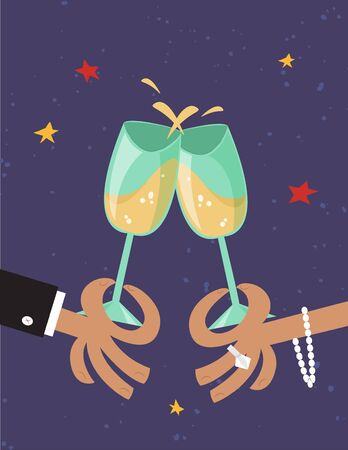 Female and male hands holding and clicking with two glasses of champagne. Cheers. Party celebration. Vector illustration in the vintage comic style.