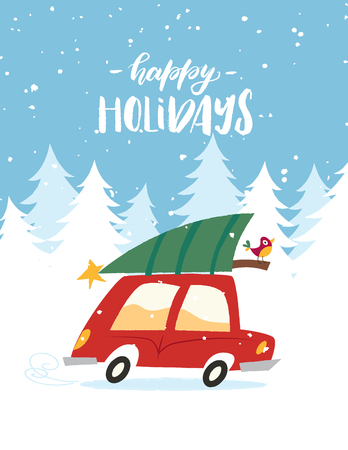 Red car with Christmas tree on the roof goes through the winter forest on Christmas eve. Vector illustration in the vintage comic style. Vectores
