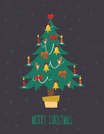 Christmas tree with garland, bells, candles and a star on top. Vector illustration in the vintage comic style. Christmas card.