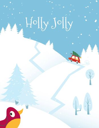 Holly Jolly. Red car with Christmas tree on the roof rides on the road through the forest on Christmas eve. Vector illustration in the vintage comic style. Vectores