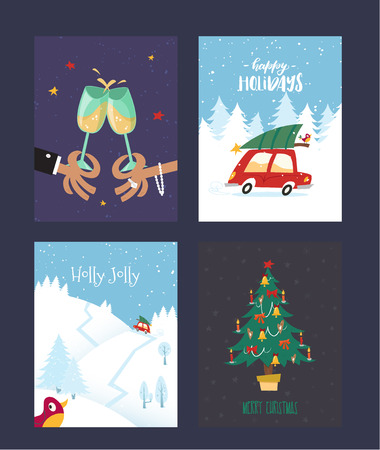 Set of Christmas and New Years cards with Christmas tree, red car, cheering people, winter forest. Vector illustration in the vintage comic style. Party celebration. Cheerful holiday.