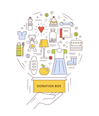 Hand with the donation box and different things: clothes, footwear, food, water, toys, medicines. Work concept illustration in thin line style. Vectores