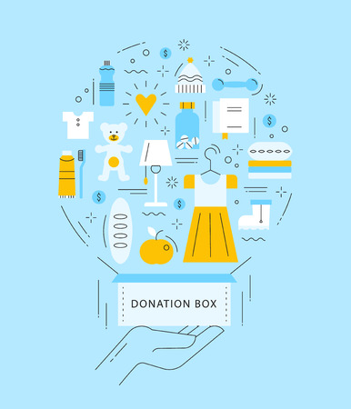 Illustration of hand with the donation box and different things: clothes, footwear, food, water, toys, medicines. Work concept in thin line style.
