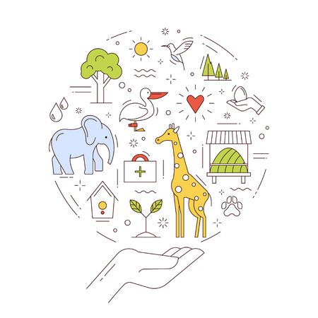 Vector concept of conservation wild animals and environment. Save the natural fund of Earth. Illustration in thin line style. Vectores