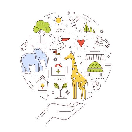 Vector concept van het behoud van wilde dieren en het milieu. Sla de natuurlijke fonds van de Aarde. Illustratie in dunne lijn stijl.