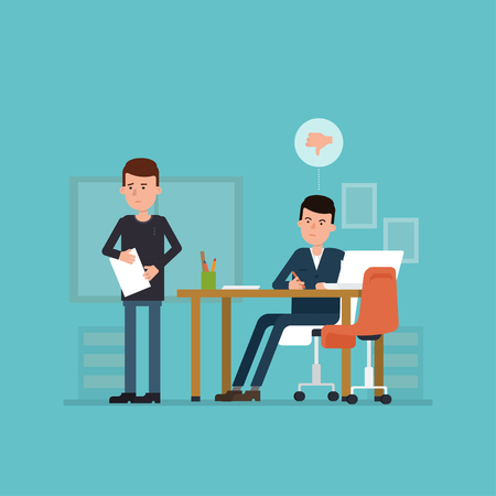 impression: Flat concept of unsuccessful interview. Vector illustration with jobseeker and employer. Bad impression. Thumbs down! Simple concept with working situation, recruitment or hiring.