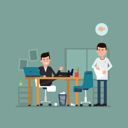 impression: Vector flat concept of interview on a bad job. Illustration with surprised jobseeker and irresponsible employer. Bad impression. Thumbs down! Concept with working situation, recruitment or hiring.