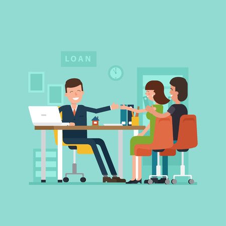 Vector concept of personal loans. Family couple with the agents in the office shaking hands. Illustration of credit approval or conclusion of the contract in flat style.