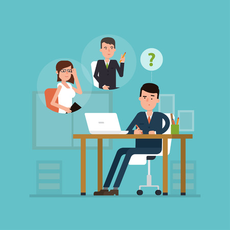 Flat concept of selecting one of the candidates hr-manager. Vector illustration of recruitment or choice of employees. Simple concept with working situation or hiring. Çizim