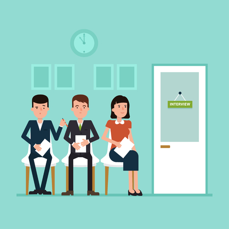 Waiting for job interview. Vector flat illustration where candidates sitting near the cabinet. Simple concept with working situation, recruitment or hiring.