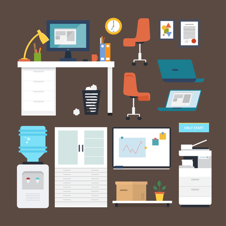 Vector set of office furniture: table, desk, chair, clock, whiteboard, lamp, multi-function printer scanner, cooler, rack, shelf, flower, stickers, label, box, laptop, computer, folders, mug, diploma.