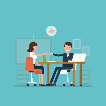 Vector concept van het sollicitatiegesprek vrouwen in vlakke stijl. Werknemer en werkgever aan tafel zitten en te praten. Goede impressie. Duimen omhoog! Eenvoudig concept met werkende situatie, recruitment of het inhuren van.