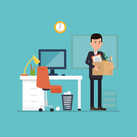 The flat concept of dismissing from employment. Vector illustration where the employee leaves the office with a box of things. Simple concept with working situation.