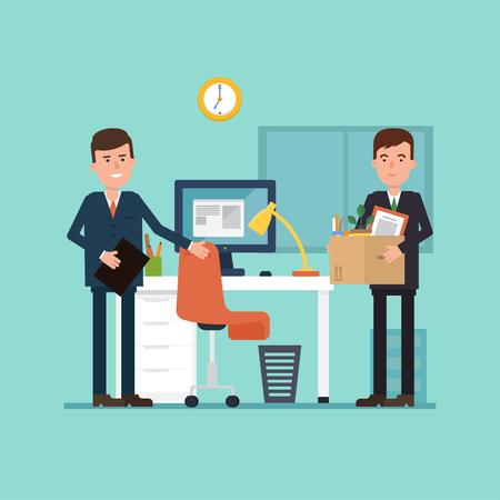 Vector l'illustrazione del primo giorno di lavoro. Impiegato arriva in ufficio con una scatola di cose. concetto semplice con la situazione di lavoro.