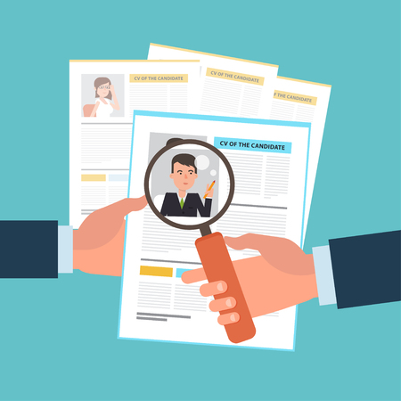 Flat illustration of the search of a candidate. A concept of the job interview with business resume. Hands with a cv and a magnifying glass. Top view. Simple working situation.