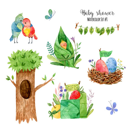 Baby shower. Watercolor set of hand painted images with cartoon elements: birds, butterfly, tree, nest, flowers. Cute forest elements on white background. Perfect for greeting, childrens party. Standard-Bild