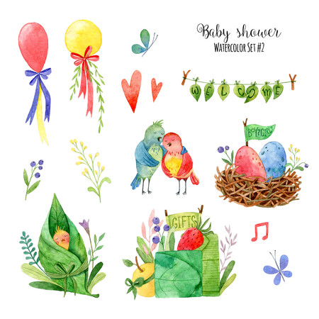 Watercolor set for Baby shower. Hand painted images with cartoon elements: birds, butterfly, nest, chick, flowers, ballons. Cute forest elements on white background. Perfect for childrens party. Foto de archivo