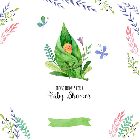 Hand painted watercolor invitations of Baby shower. Cute card with chick, flower and butterfly with place for your text. Watercolor illustrations. Perfect for greeting, childrens party.