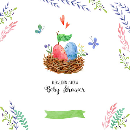 Watercolor invitations of Baby shower. Hand painted cute card with nest, flower and butterfly with place for your text. Watercolor illustrations. Perfect for greeting, childrens party.