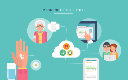 Concept about caring for patients and medical control with smart pills in flat style. Visual infographics. The concept of innovations in medicine. Flat design graphic. Medical illustration.