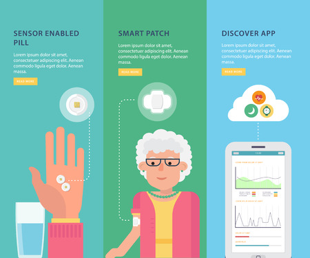 Simple banners with informations of caring for patients and medical control with smart pills. Visual infographics. The concept of innovations in medicine. Flat design graphic. Medical illustration. Çizim
