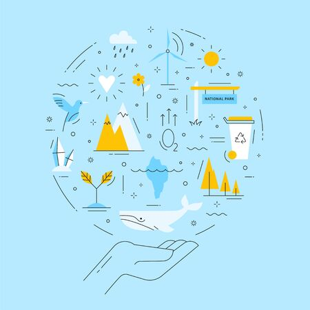 Ecology emblem on blue background. Protection of the environment and natural resources. Vector concept in thin line style. Illustration