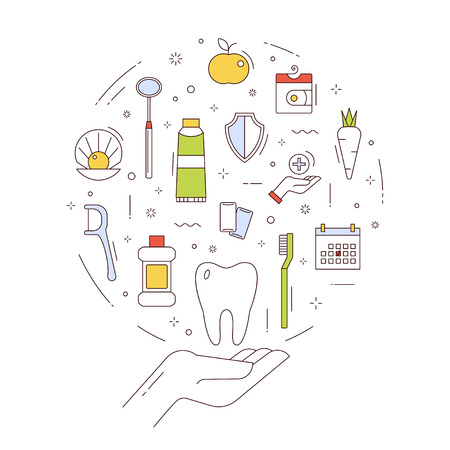 Dental care, treatment, and oral hygiene. The emblem on white background. Vector concept in thin line style. Çizim