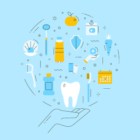 Dental care, treatment, and oral hygiene. The emblem on blue background. Vector concept in thin line style.