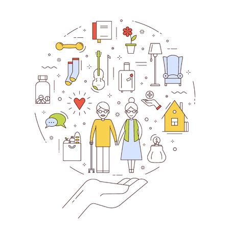 O conceito plano de apoio social, ajuda e direitos para as pessoas idosas. Infográfico de vetor sobre os cuidados aos idosos. Design em estilo de linha fina. Ilustración de vector