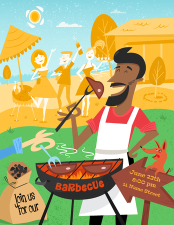 BBQ poster in mid century style. A cheerful man with the dog is cooking steak barbecue outdoors. Summer background with friends and beers on the picnic in the garden. 1950s. Easy editable. Illustration