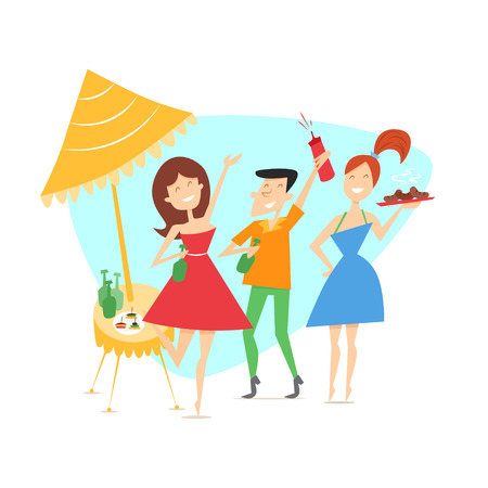 Summer background with cheerful friends, beers, canapes, sausage on the picnic outdoors. Vector characters in mid-century style. 1950s. Çizim